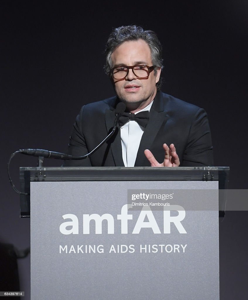 Mark Ruffalo speaks at the 19th Annual amfAR New York Gala at Cipriani Wall Street on February 8, 2017 in New York City.