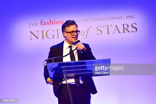 Mark Ruffalo speaks during the Fashion Group International Night Of Stars 2018 at Cipriani Wall Street on October 25 2018 in New York City
