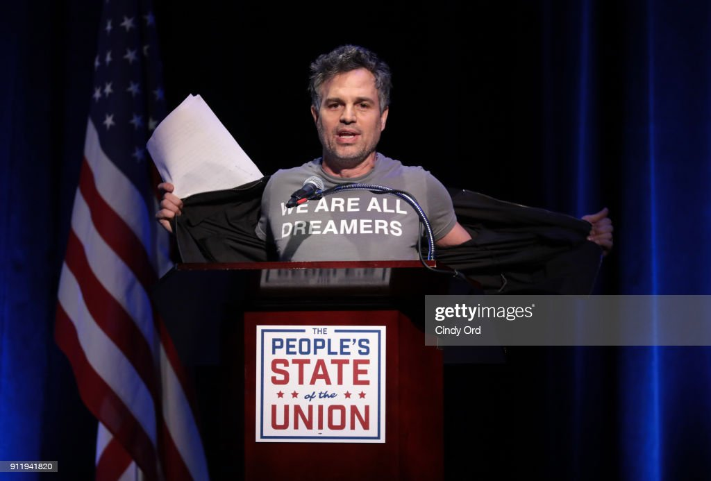 Mark Ruffalo speaks onstage at The People's State Of The Union at Townhall on January 29, 2018 in New York City.