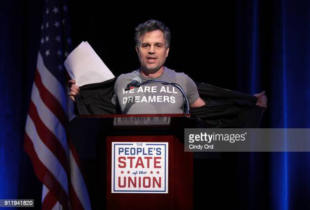 Mark Ruffalo speaks onstage at The People's State Of The Union at Townhall on January 29 2018 in New York City