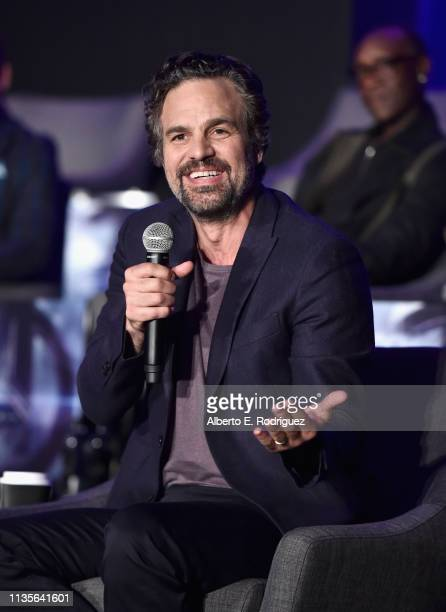 Mark Ruffalo speaks onstage during Marvel Studios' Avengers Endgame Global Junket Press Conference at the InterContinental Los Angeles Downtown on...