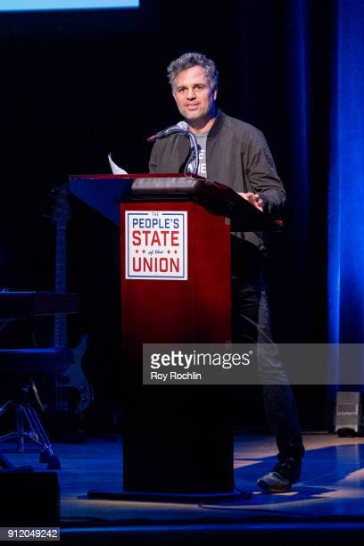 Mark Ruffalo speaks onstage during The People's State Of The Union at Town Hall on January 29 2018 in New York City