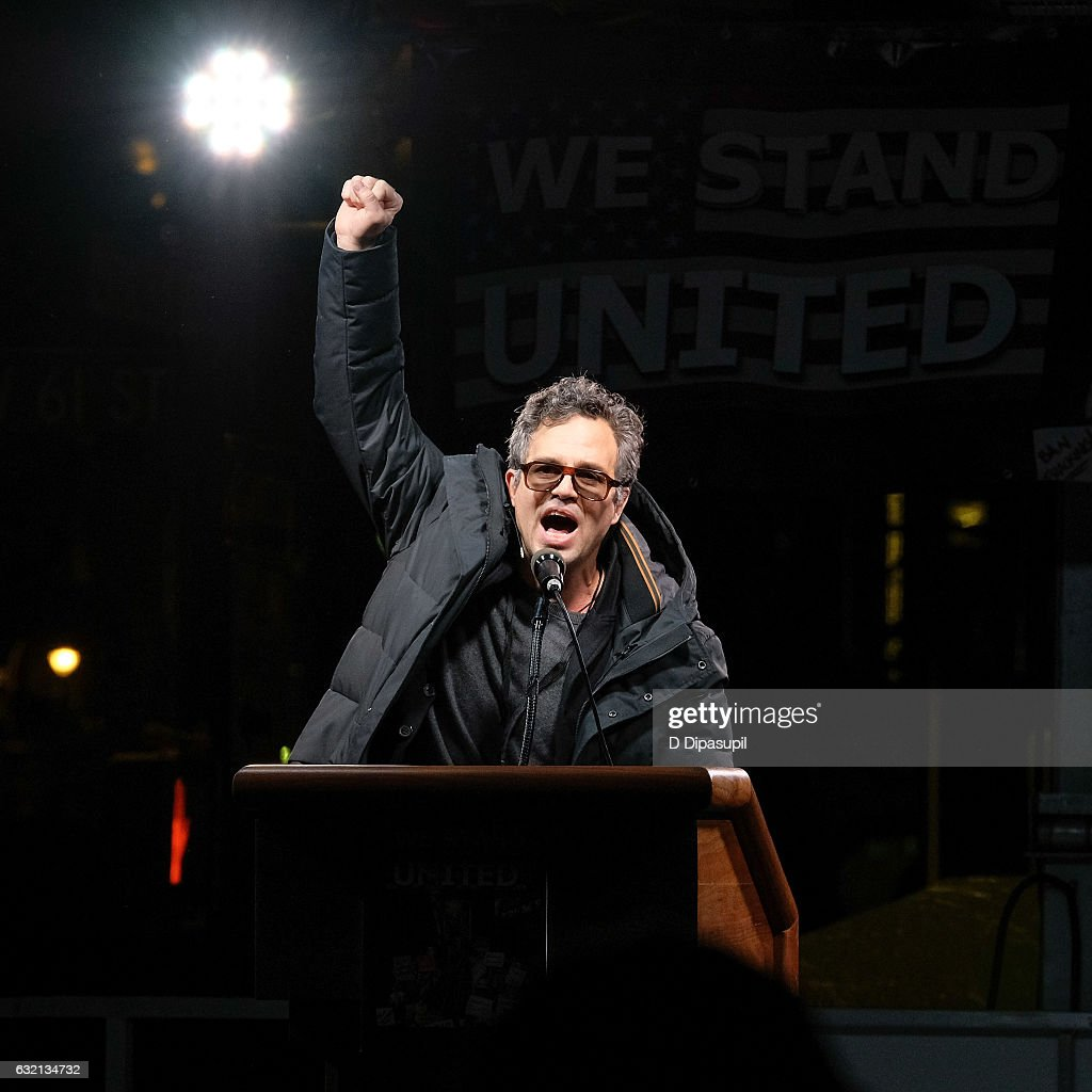 Mark Ruffalo speaks onstage during the We Stand United NYC Rally outside Trump International Hotel & Tower on January 19, 2017 in New York City.