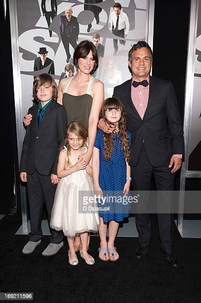 Mark Ruffalo wife Sunrise Coigney and children Keen Ruffalo Odette Ruffalo and Bella Noche Ruffalo attend the Now You See Me premiere at AMC Lincoln...