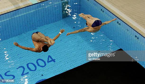 Mark Ruiz and Kyle Prandi of USA compete in the women's synchronised diving 3 metre springboard event on August 14 2004 during the Athens 2004 Summer...