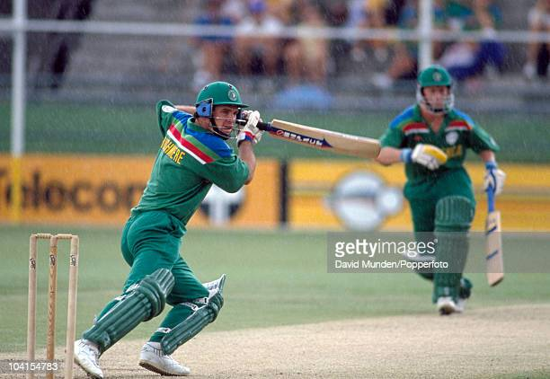 Mark Rushmere batting in the rain for South Africa during the World Cup match between South Africa and Pakistan in Brisbane 8th March 1992 South...