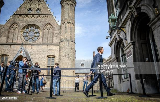 Mark Rutte at the Binnenhof makes his way to meet Edith Schippers in The Hague on May 17 where she was reappointed as 'informateur' by the Lower...