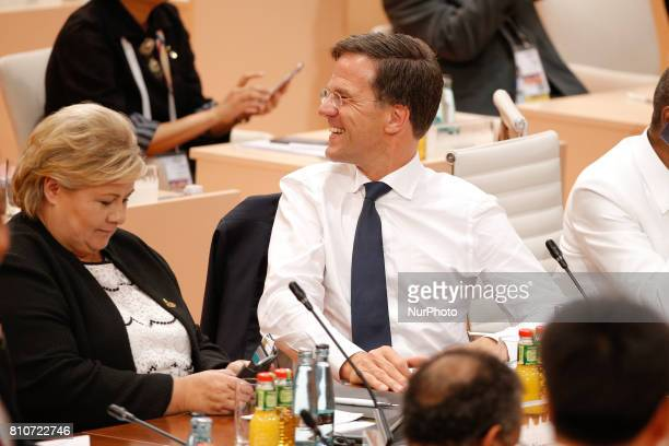 PM Mark Rutte of the Netherlands is seen ahead of the plenary session at the G20 summit on 8 July 2017 in Hamburg Germany