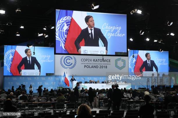 Mark Rutte Prime Minister of Holland speaks at the opening ceremony of the COP 24 United Nations climate change conference on December 03 2018 in...