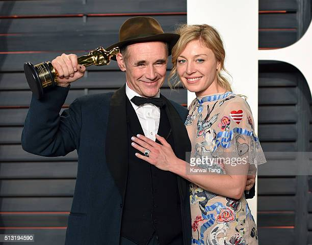 Mark Rylance and Juliet Rylance attend the 2016 Vanity Fair Oscar Party Hosted By Graydon Carter at Wallis Annenberg Center for the Performing Arts...