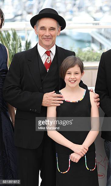 """Mark Rylance and Ruby Barnhill attend the """"The BFG """" photocall during the 69th Annual Cannes Film Festival on May 14, 2016 in Cannes, France"""
