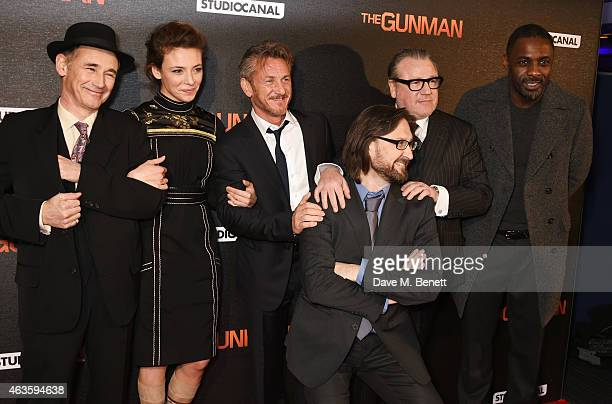 Mark Rylance Jasmine Trinca Sean Penn director Pierre Morel Ray Winstone and Idris Elba attend the World Premiere of The Gunman at BFI Southbank on...