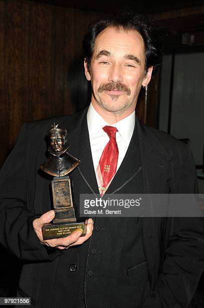 Mark Rylance poses with the Best Actor Award during The Laurence Olivier Awards at the Grosvenor House Hotel on March 21 2010 in London England