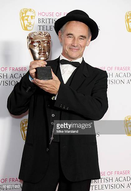 Mark Rylance poses with the Best Actor award in the winners room at the House Of Fraser British Academy Television Awards 2016 at the Royal Festival...