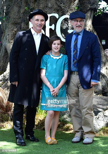 Mark Rylance, Ruby Barnhill and Director Steven Spielberg attend the UK film premiere of the BFG on July 17, 2016 in London, England.