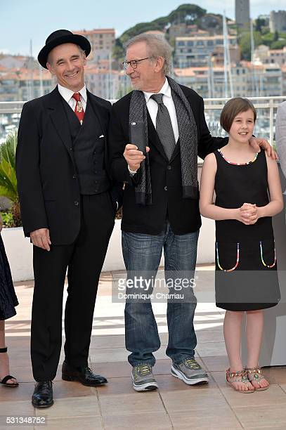 """Mark Rylance, Steven Spielberg and Ruby Barnhill attend """"The BFG """" photocall during the 69th annual Cannes Film Festival at the Palais des Festivals..."""