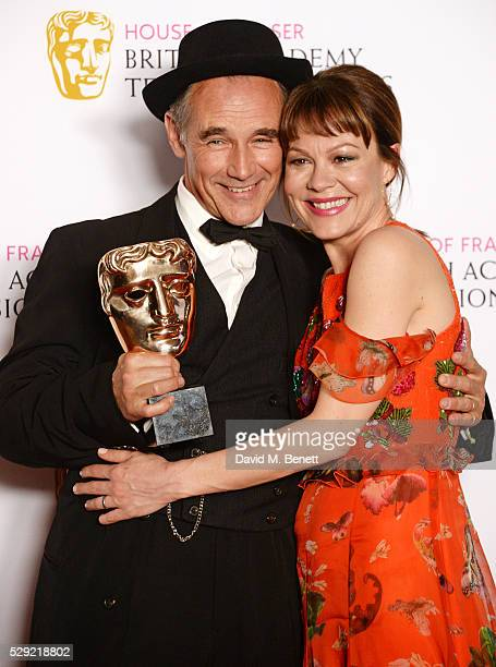 Mark Rylance winner of the Leading Actor award for 'Wolf Hall' and Helen McCrory pose in the winners room at the House Of Fraser British Academy...