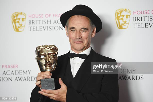 Mark Rylance winner of the Leading Actor award for 'Wolf Hall' poses in the Winners room at the House Of Fraser British Academy Television Awards...