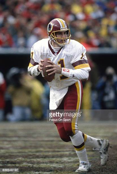Mark Rypien of the Washington Redskins drops back to pass against the San Francisco 49ers during the NFC Divisional Playoffs January 9 1993 at...