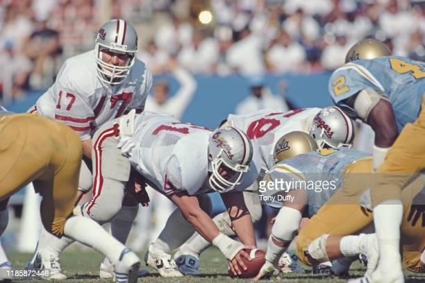 Mark Rypien Quarterback for the Washington States Cougars calls the play during the NCAA Pac10 college football game against the University of...