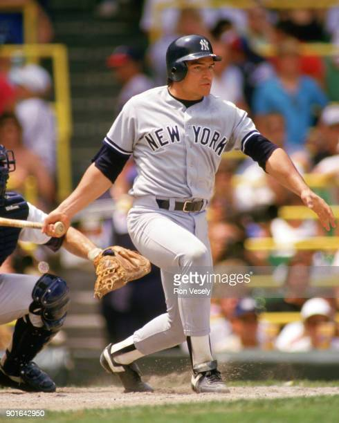 Mark Salas of the New York Yankees bats during an MLB game versus the Chicago White Sox at Comiskey Park in Chicago Illinois during the 1987 season