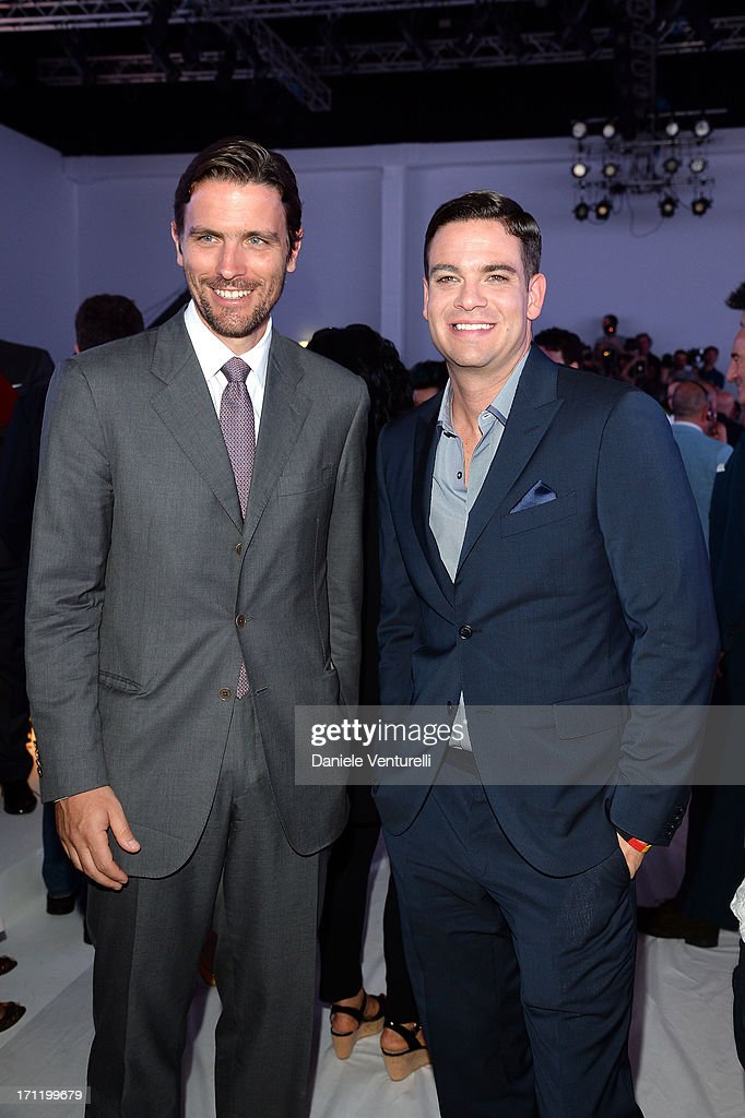 Mark Salling and James Ferragamo (L) attend the 'Salvatore Ferragamo' show as part of Milan Fashion Week Spring/Summer 2014 on June 23, 2013 in Milan, Italy.