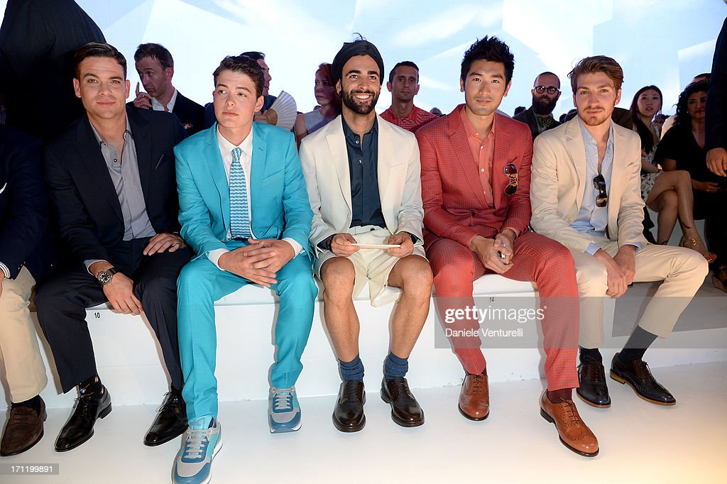 Mark Salling, Israel Broussard, Marco Mengoni, Godfrey Gao and Alan Cappelli attend the 'Salvatore Ferragamo' show as part of Milan Fashion Week Spring/Summer 2014 on June 23, 2013 in Milan, Italy.