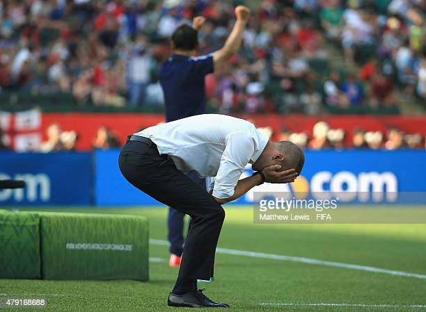 Mark Sampson of England looks on, after his team lost to Japan during the FIFA Women's World Cup 2015 Semi Final match between Japan and England at...