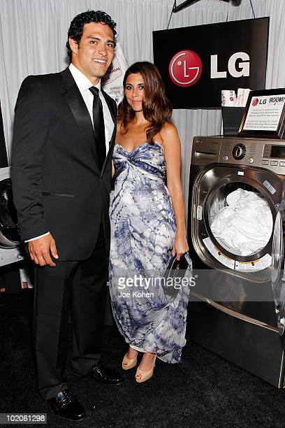 NEW YORK JUNE 13 Mark Sanchez and JamieLynn Sigler attend the LG Electronics sponsored 64th Annual Tony Awards Official Gift Lounge produced by On 3...