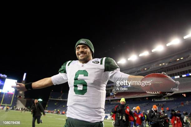 Mark Sanchez of the New York Jets celebrates after the Jets defeated the Patriots 28 to 21 in their 2011 AFC divisional playoff game at Gillette...