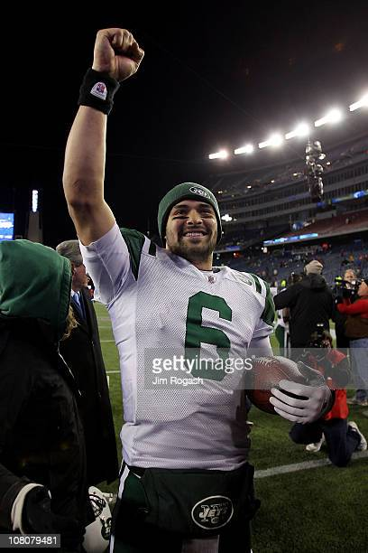 Mark Sanchez of the New York Jets celebrates after they defeated the Patriots 28 to 21 in their 2011 AFC divisional playoff game at Gillette Stadium...