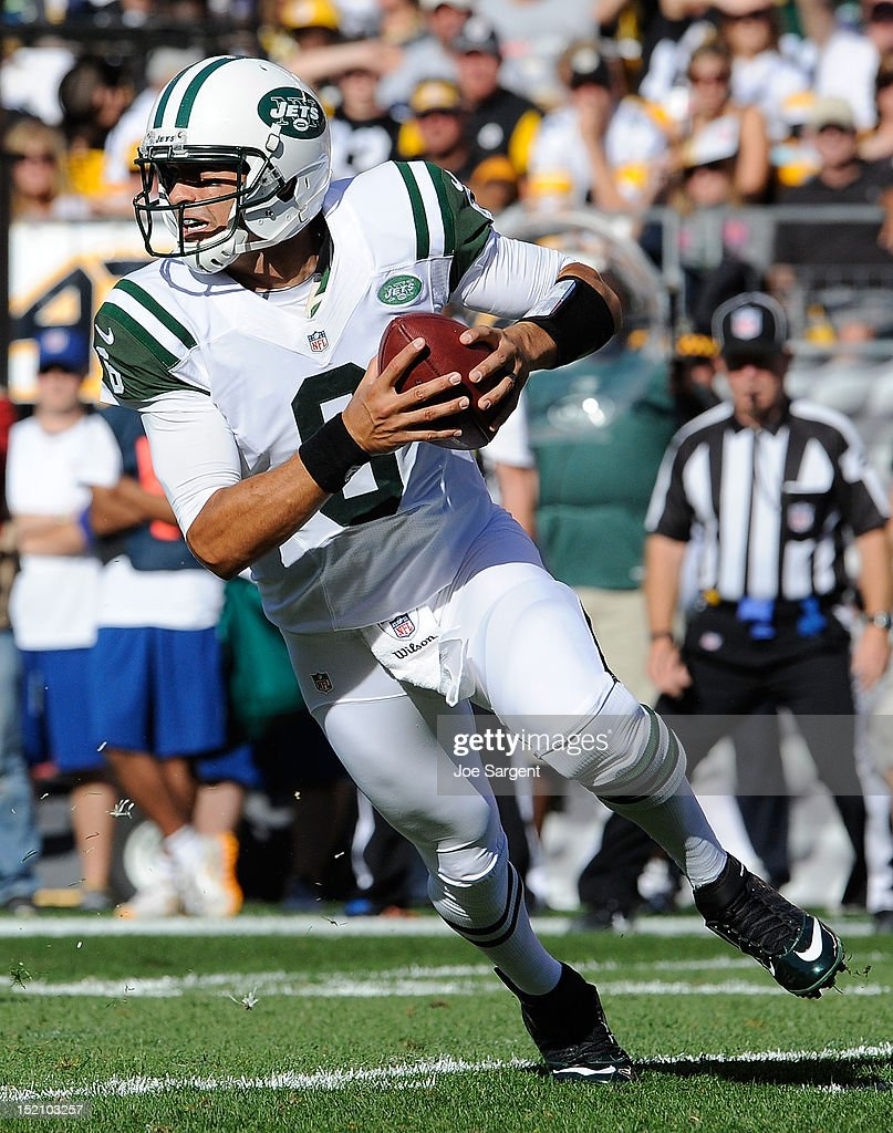 Mark Sanchez #6 of the New York Jets drops back to pass during the game against the Pittsburgh Steelers on September 16, 2012 at Heinz Field in Pittsburgh, Pennsylvania.