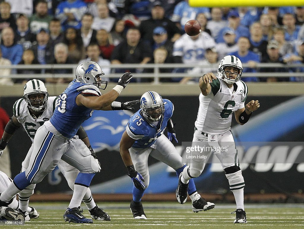Mark Sanchez #6 of the New York Jets throws a pass during the game against the Detroit Lions at Ford Field on November 7, 2010 in Detroit, Michigan. The Jets defeated the Lions 23-20 in overtime.