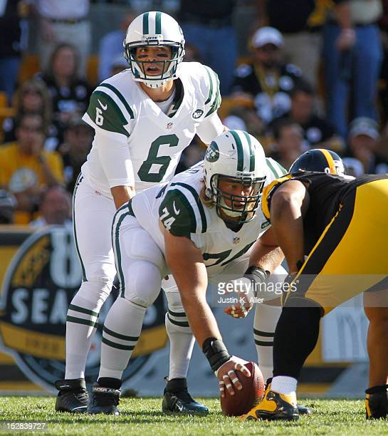 Mark Sanchez of the New York Jets under center against the Pittsburgh Steelers during the game on September 16 2012 at Heinz Field in Pittsburgh...