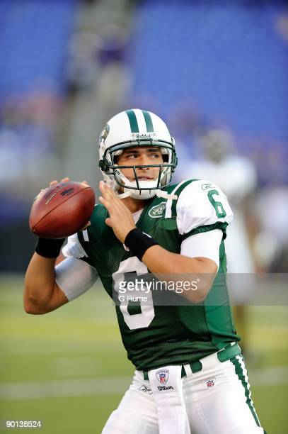 Mark Sanchez of the New York Jets warms up before a preseason game against the Baltimore Ravens at MT Bank Stadium on August 24 2009 in Baltimore...