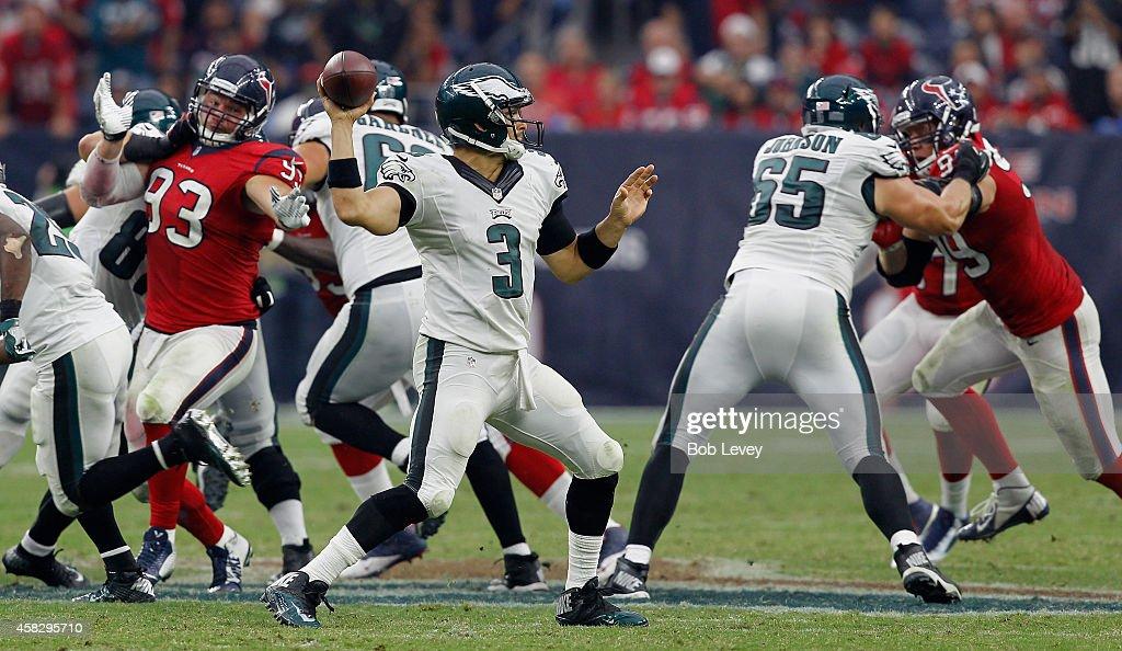 Mark Sanchez #3 of the Philadelphia Eagles looks for a receiver against the Houston Texans at Reliant Stadium on November 2, 2014 in Houston, Texas.