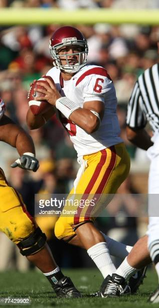 Mark Sanchez of the University of Southern California Trojans drops back to pass against the Notre Dame Fighting Irish at Notre Dame Stadium October...