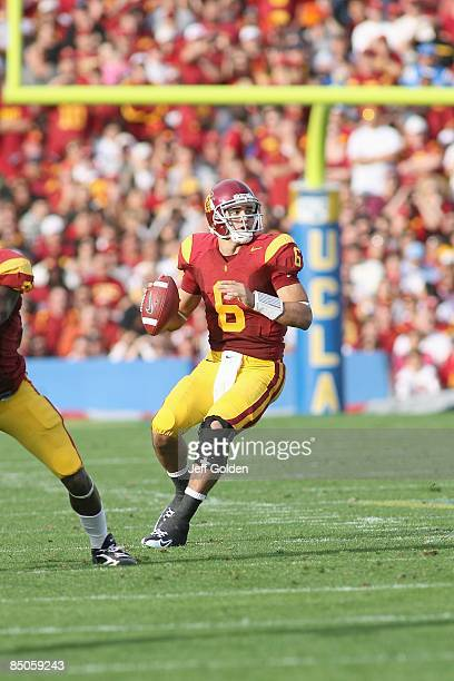 Mark Sanchez of the USC Trojans passes against the UCLA Bruins on December 6, 2008 at the Rose Bowl in Pasadena, California. USC won 28-7.