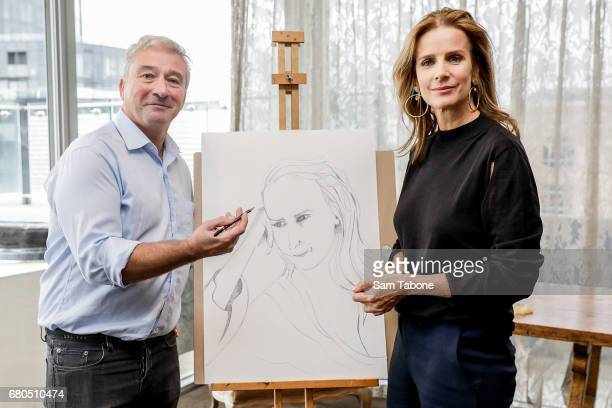 Mark Schaller and Rachel Griffiths pose at The Olsen Hotel in aid of 'No Robe' Campaign on May 9 2017 in Melbourne Australia