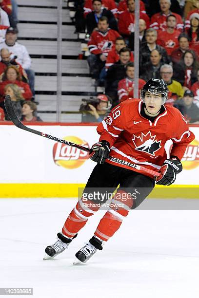 Mark Scheifele of Team Canada skates during the 2012 World Junior Hockey Championship Semifinal game against Team Russia at the Saddledome on January...