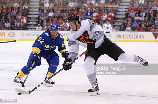 Mark Scheifele of Team North America fires a slap shot on Team Sweden during the World Cup of Hockey 2016 at Air Canada Centre on September 21 2016...