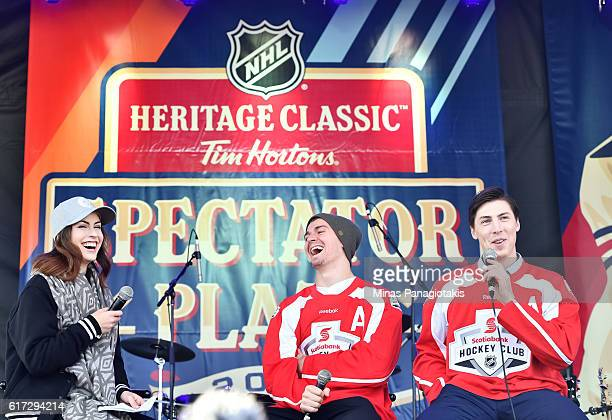 Mark Scheifele of the Winnipeg Jets and Ryan NugentHopkins of the Edmonton Oilers are interviewed on stage in Spectator Plaza in advance of the 2016...