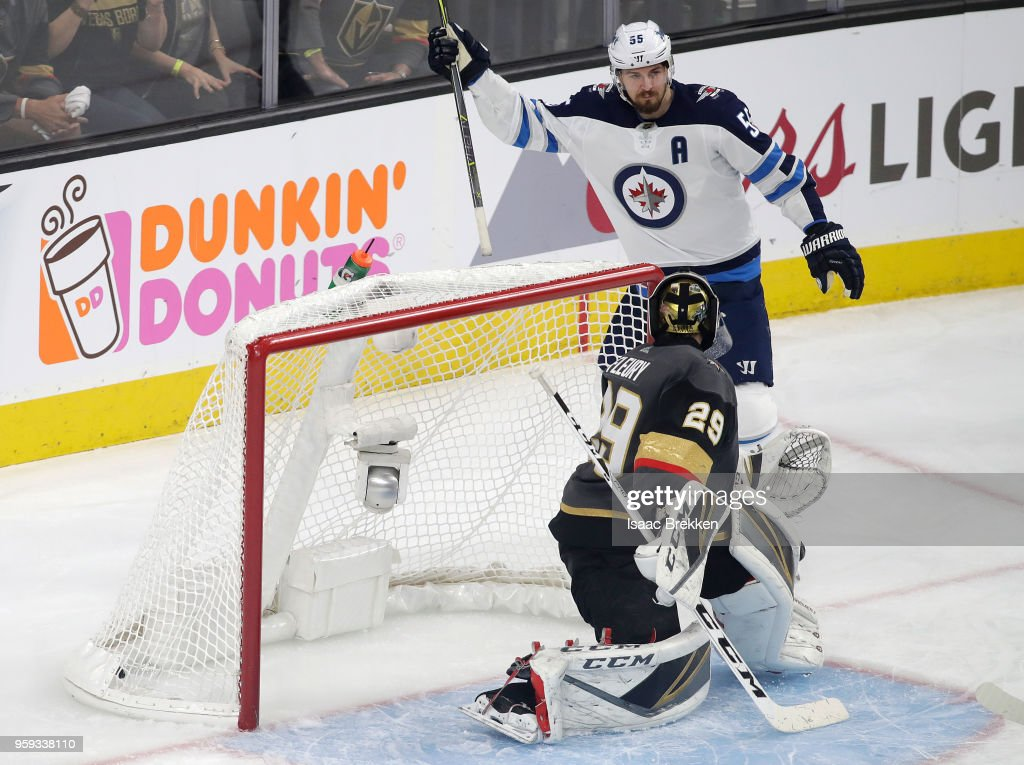 Mark Scheifele #55 of the Winnipeg Jets celebrates after scoring a second-period goal past Marc-Andre Fleury #29 of the Vegas Golden Knights in Game Three of the Western Conference Finals during the 2018 NHL Stanley Cup Playoffs at T-Mobile Arena on May 16, 2018 in Las Vegas, Nevada.