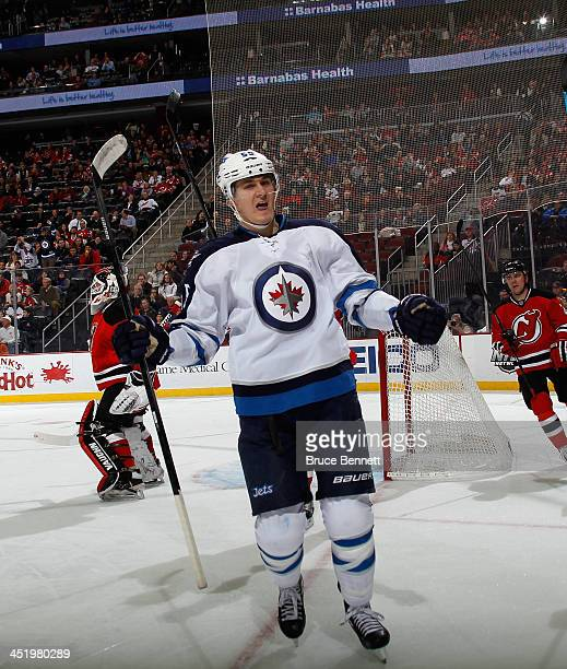 Mark Scheifele of the Winnipeg Jets celebrates his goal at 1601 of the first period against the New Jersey Devils at the Prudential Center on...