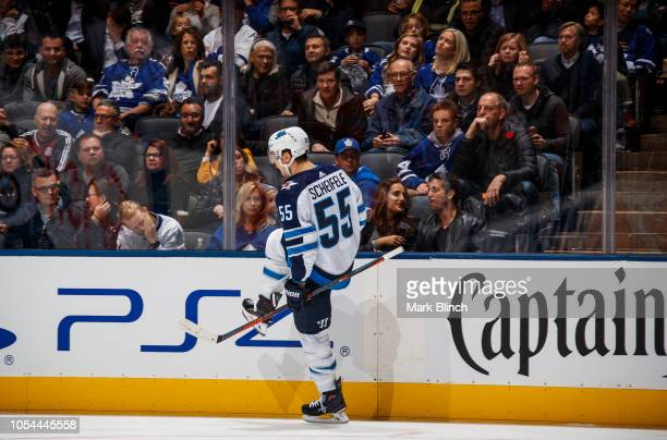 Mark Scheifele of the Winnipeg Jets celebrates his goal during the second period against the Toronto Maple Leafs at the Scotiabank Arena on October...
