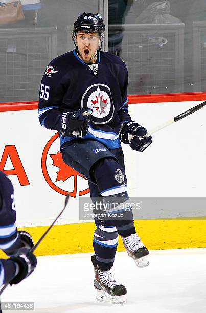 Mark Scheifele of the Winnipeg Jets celebrates his second period goal against the Washington Capitals on March 21 2015 at the MTS Centre in Winnipeg...