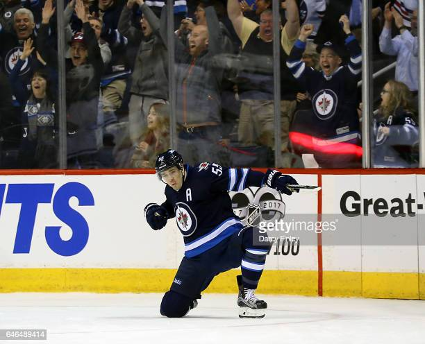 Mark Scheifele of the Winnipeg Jets celebrates his third period goal against the Minnesota Wild at the MTS Centre on February 28 2017 in Winnipeg...