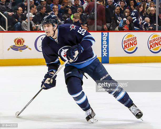 Mark Scheifele of the Winnipeg Jets follows the play down the ice during second period action against the Los Angeles Kings at the MTS Centre on...