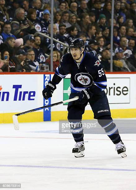 Mark Scheifele of the Winnipeg Jets follows the play down the ice during third period action against the New York Rangers at the MTS Centre on...