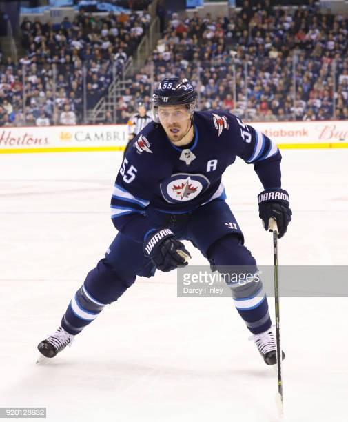 Mark Scheifele of the Winnipeg Jets follows the play down the ice during second period action against the Washington Capitals at the Bell MTS Place...
